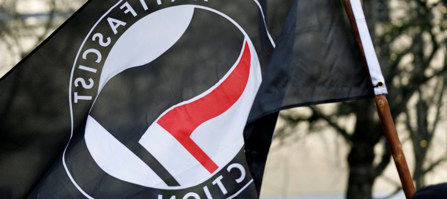 Anti-fascist flag (John Rudoff / Sipa USA via AP Images)
